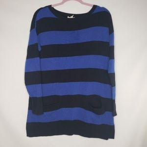 Nordstrom Caslon Black Blue Striped Sweater